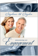 Engagement Announcement with Photo in Slate Blue card