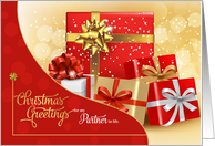 for Life Partner - Trendy Pink and Gold Christmas card