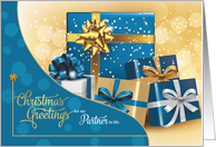 for Life Partner - Christmas Turquoise Blue and Green card