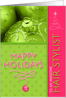 For Hair Stylist at Christmas Cool and Funky Hot Pink and Peridot card
