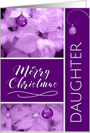 For Daugther at Christmas Lavender and Purple Poinsettia card