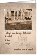 For Little Sister on Her Birthday Vintage Humor card