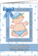 Congratulations Sister on the Birth of her First Child in Blue card