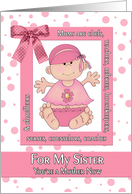 Congratulations Sister on the Birth of her First Child in Pink card