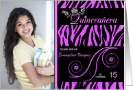 Quinceanera Photo Card Invitations in Purple Zebra Print card