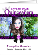 Quinceanera Photo Card Save the Date in Purple Zebra Print card
