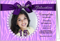 Quinceanera Photo Card Party Invitation in Purple Zebra Print card