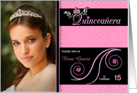 Quinceanera Photo Card Invitations in Pink Cheetah Print card