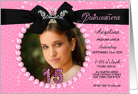 Quinceanera Photo Card Invitation in Pink Cheetah Print card