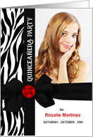 Quinceanera Photo Card Invitation in Zebra Print card