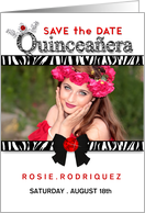 Quinceanera Photo Card Save the Date Invitation in Zebra Print card