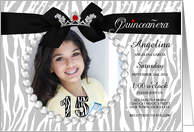 Quinceanera Photo Card Party Invitation in Zebra Print card