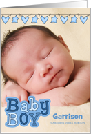 Blue Hearts and Stars Birth Announcement Vertical Baby's Photo card