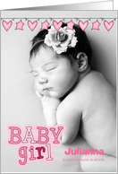 Pink Hearts and Stars Birth Announcement Vertical Baby's Photo card