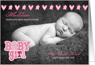 Pink Hearts and Stars Birth Announcement with Baby's Photo card