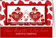Gay Engagement Congratulations His and His Red Hearts Custom card
