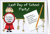 Last Day of School Party Invitation with Custom Front card