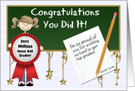 Honor Roll Congratulations - School Girl - Custom Front card