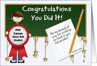 Honor Roll Congratulations Custom Front with Boy card