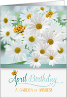 April Birthday Daisies with Butterflies and a Lizard card