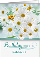 Custom April Birthday Daisies with Butterflies and a Lizard card
