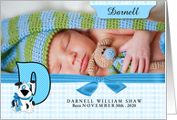 New Baby Announcement Photo Card - Monogram D Blue Dog card