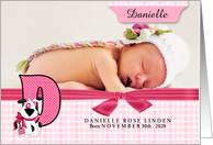 New Baby Announcement Photo Card - Monogram D Pink Dog card