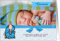 G for Giraffe Blue Birth Announcement with Boy's Photo card