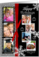 7 Photo - Happy Holidays Classic Black Snowflake Photo Card