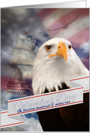Columbus Day, Eagle and Ship on the Ocean card