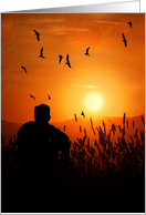 Male Silhouette Sunset Mountain Scenic Blank All Occasion card