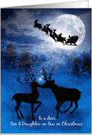 for Son and Daughter in Law on Christmas Kissing Reindeer card