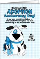 for Adopted Son on Adoption Day Anniversary Blue Dog card