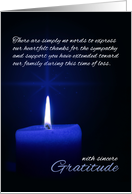 Sympathy / Condolence Thank You Blue Candle Light card
