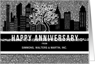 Business or Company Anniversary Custom Skyline in Classic Black card