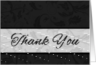 Business Thank You in Classic Black and Silver Damask card