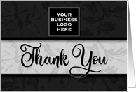 Business Thank You Custom LOGO in Classic Black Damask card