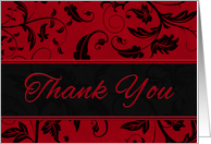Business Thank You in Red and Black Damask card
