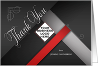 Business Thank You Custom LOGO in Red and Black Damask card