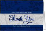 Employee Anniversary Custom Blue and Silver Damask card