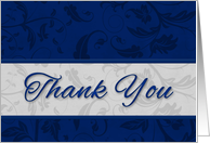 Business Thank You in Blue and Silver Damask card