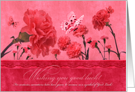 Good Luck Feminine Pink Carnations with Butterflies card