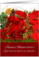 French Language December Birthday Poinsettias with Winter Greenery card