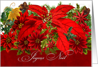 Merry Christmas French Language Poinsettias Joyeux No�l card