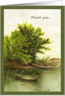 Watercolor Painting of Lone Boat on a Serene Lake Thank You card