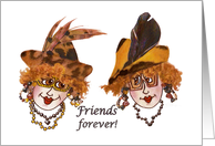 Two whimsical ladies as friends forever for Friendship Day card