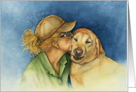 A Lady with her best friend, a Golden Labrador Dog blank card