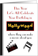 Adult, Humor, Happy Birthday, Hollywood Celebration card