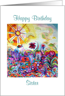 Only Sister, Happy Birthday, Psychedelic Garden card