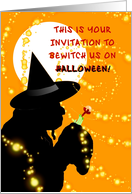 Halloween Invitation, Bewitch Us card